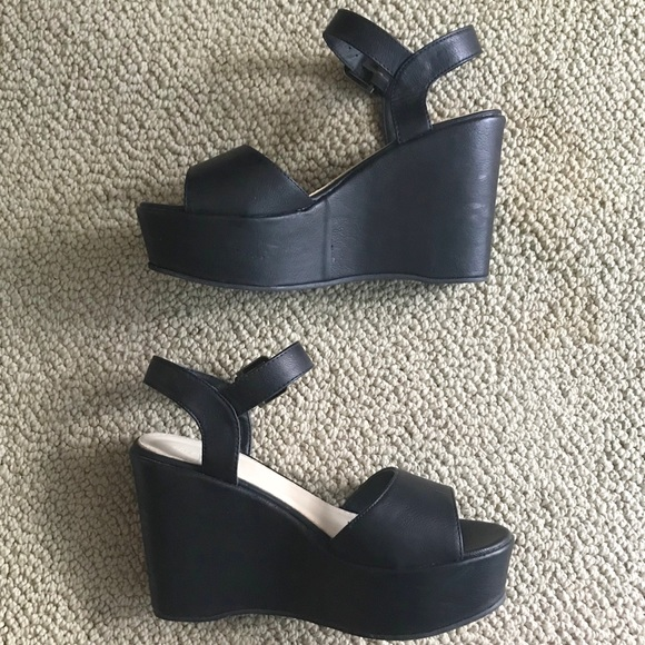 ce0b4d9908 Forever 21 Shoes - Forever 21 Faux Leather Platform Wedge Sandals